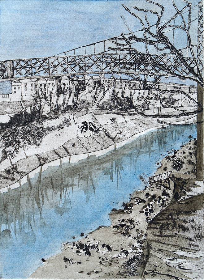 Footbridge, Southville, Collagraph and Watercolour - Su Williams