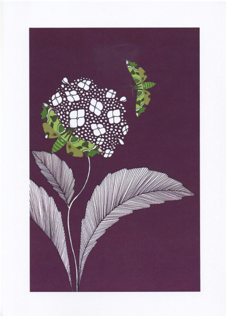 Hawkmoths and hydrangea - The Knitted Pea