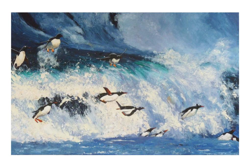 Penguins surf the Southern Ocean - Anna Duckworth