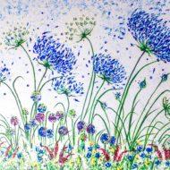 Blue Agapanthus and alliums Original Acrylic 10 x 12 cm Lynette Bower