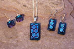 Honeycomb On Topaz Jewellery set - Eva Glass Design