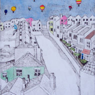 Balloons Over Bristol, Collagraph and Watercolour - Su Williams