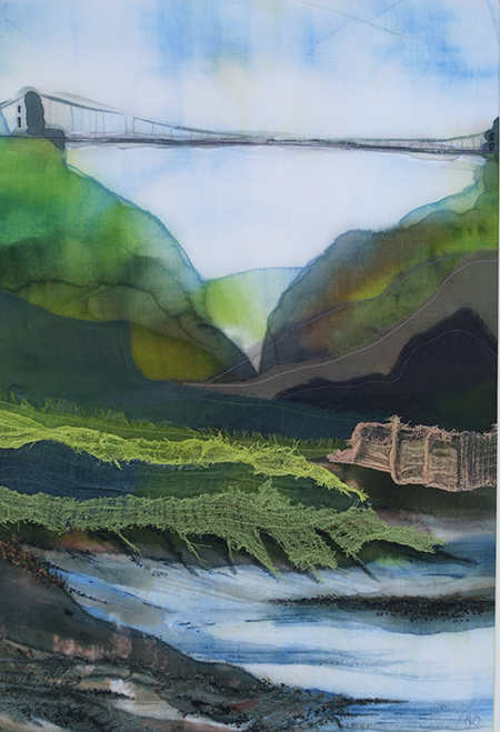 Clifton Suspension Bridge, Textile, Collage - Su Williams