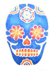 Blue Orangey Pink Sugar Skull - Thomas Chadwick
