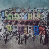 Bristol Houses, Drypoint and Watercolour
