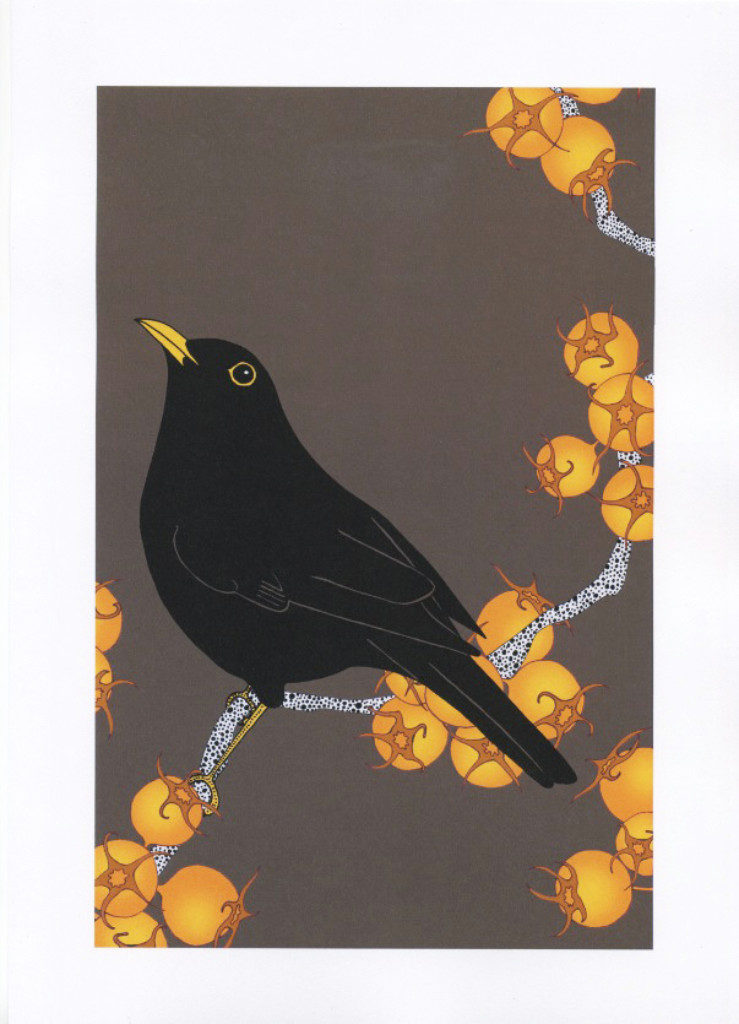 Blackbird and king hawthorn - The Knitted Pea