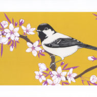 Coal tit and cherry blossom - The Knitted Pea