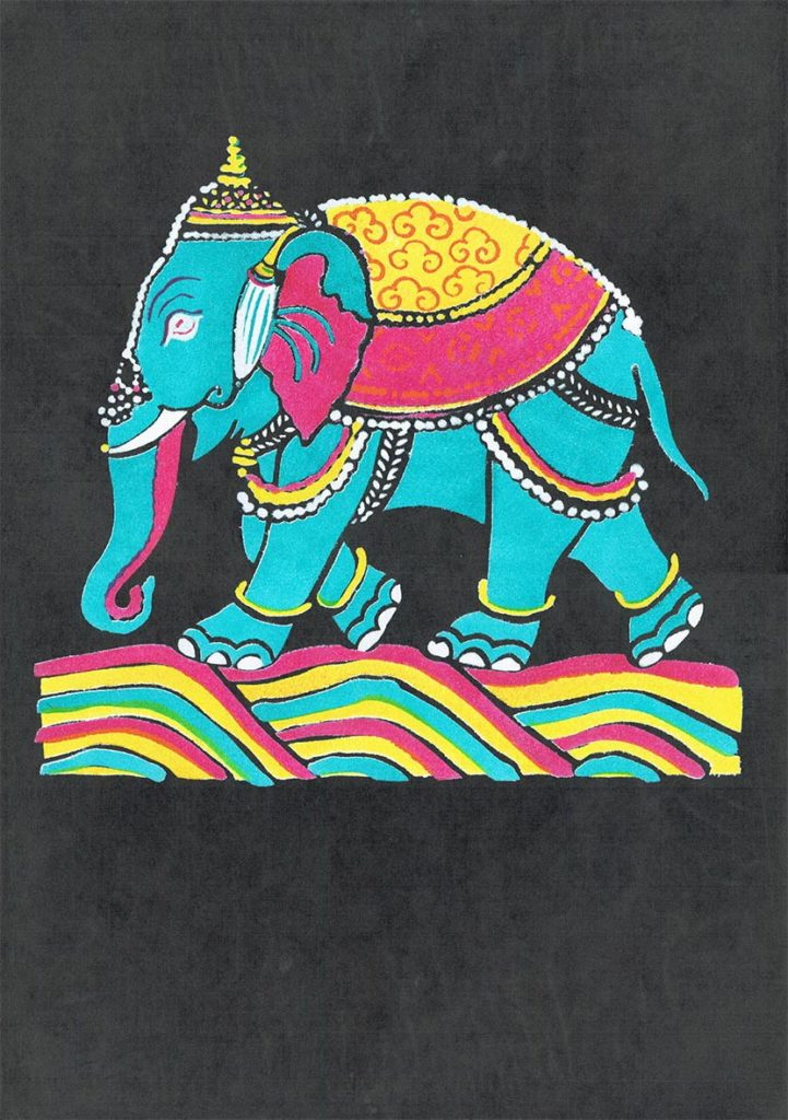 Indian Elephant On Black - Thomas Chadwick