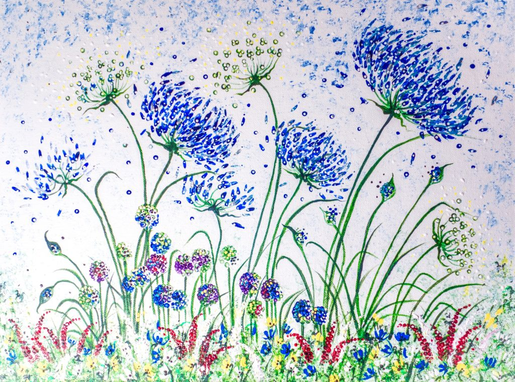 Blue Agapanthus and alliums Original Acrylic 10 x 12 cm Lynette Bower