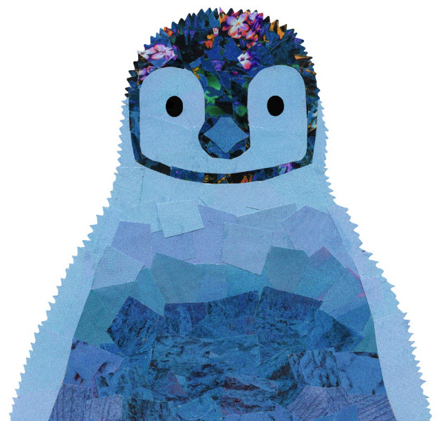 Blue Baby Penguin Print Holly Collage Room 212